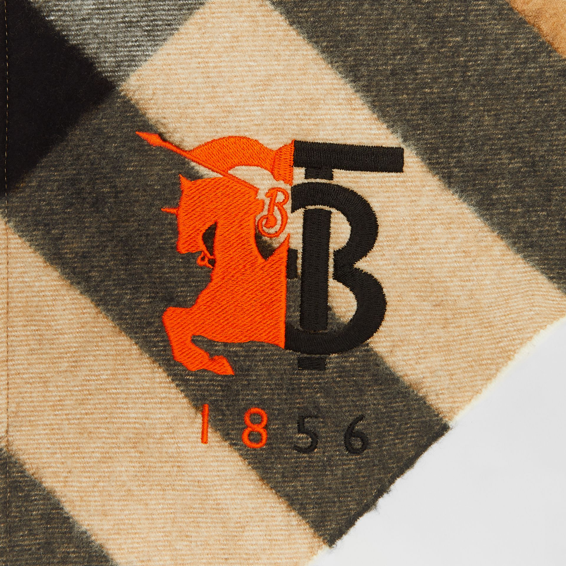 Contrast Logo Graphic Check Cashmere Bandana in Camel | Burberry - gallery image 1