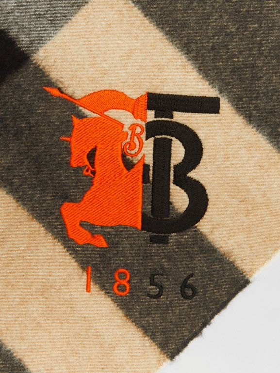 Contrast Logo Graphic Check Cashmere Bandana in Camel | Burberry - cell image 1