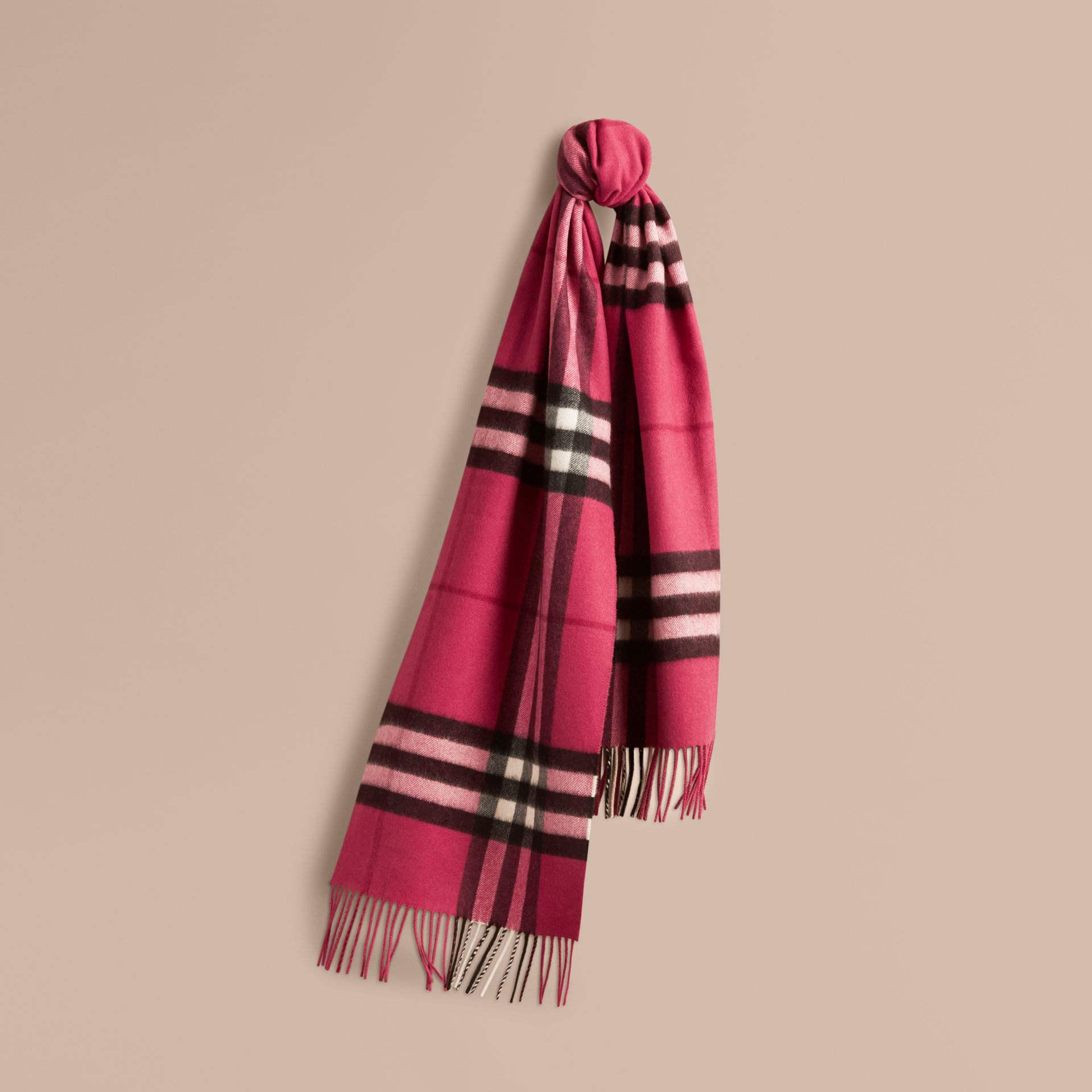 The Classic Cashmere Scarf in Check in Fuchsia Pink - gallery image 6