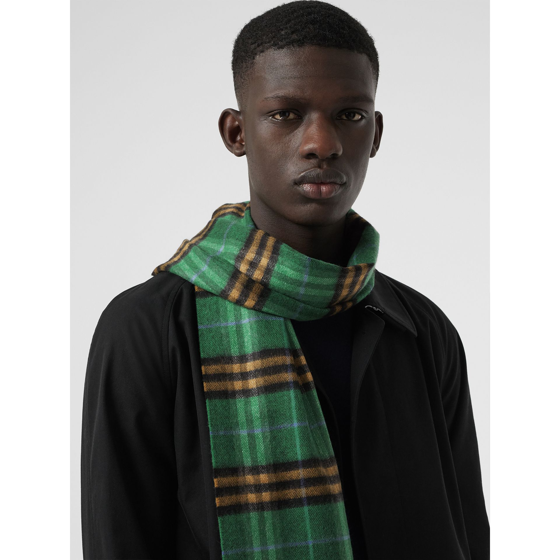 Check Cashmere Scarf in Forest Green | Burberry United Kingdom - gallery image 5