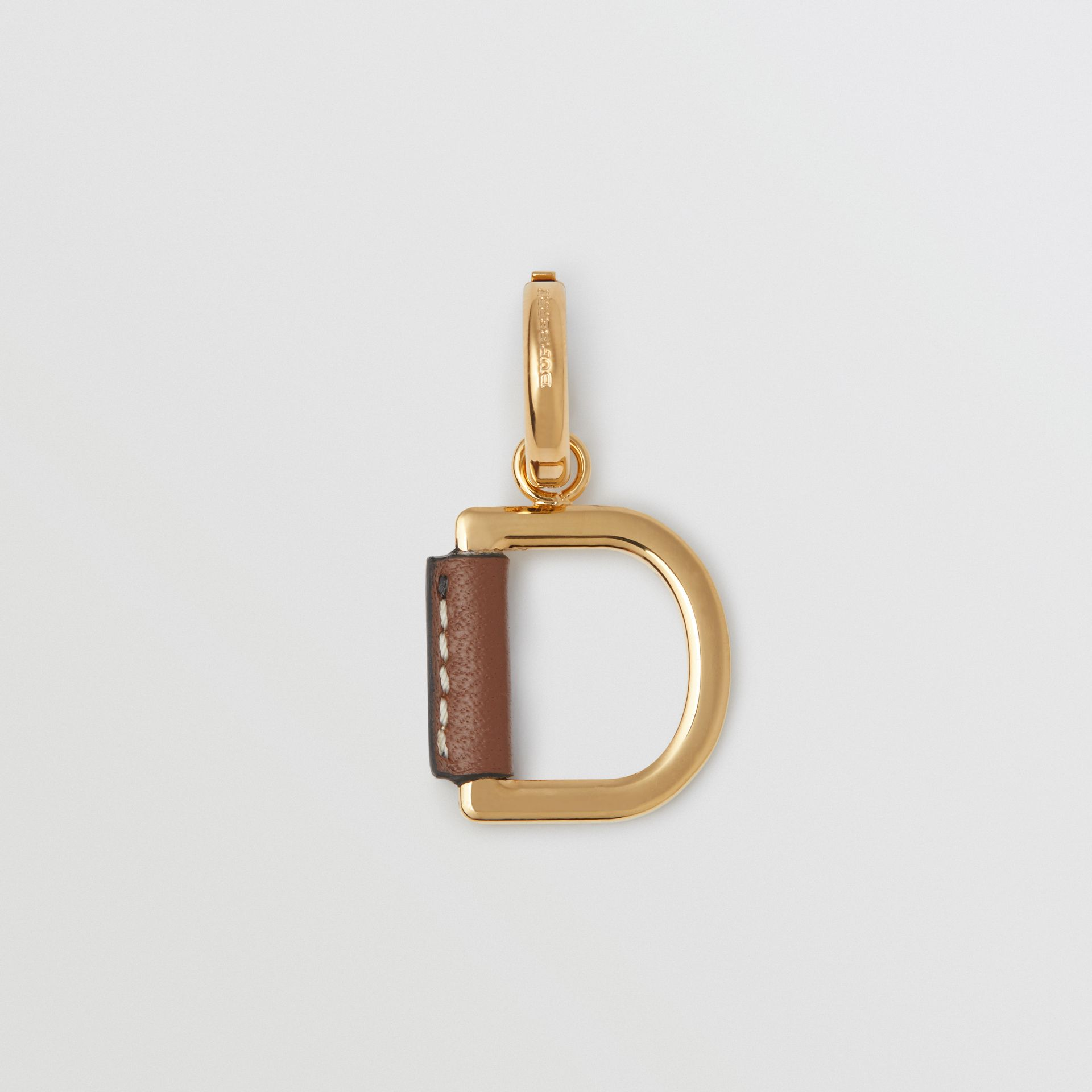 Leather-wrapped 'D' Alphabet Charm in Light Gold/tan - Women | Burberry Australia - gallery image 0