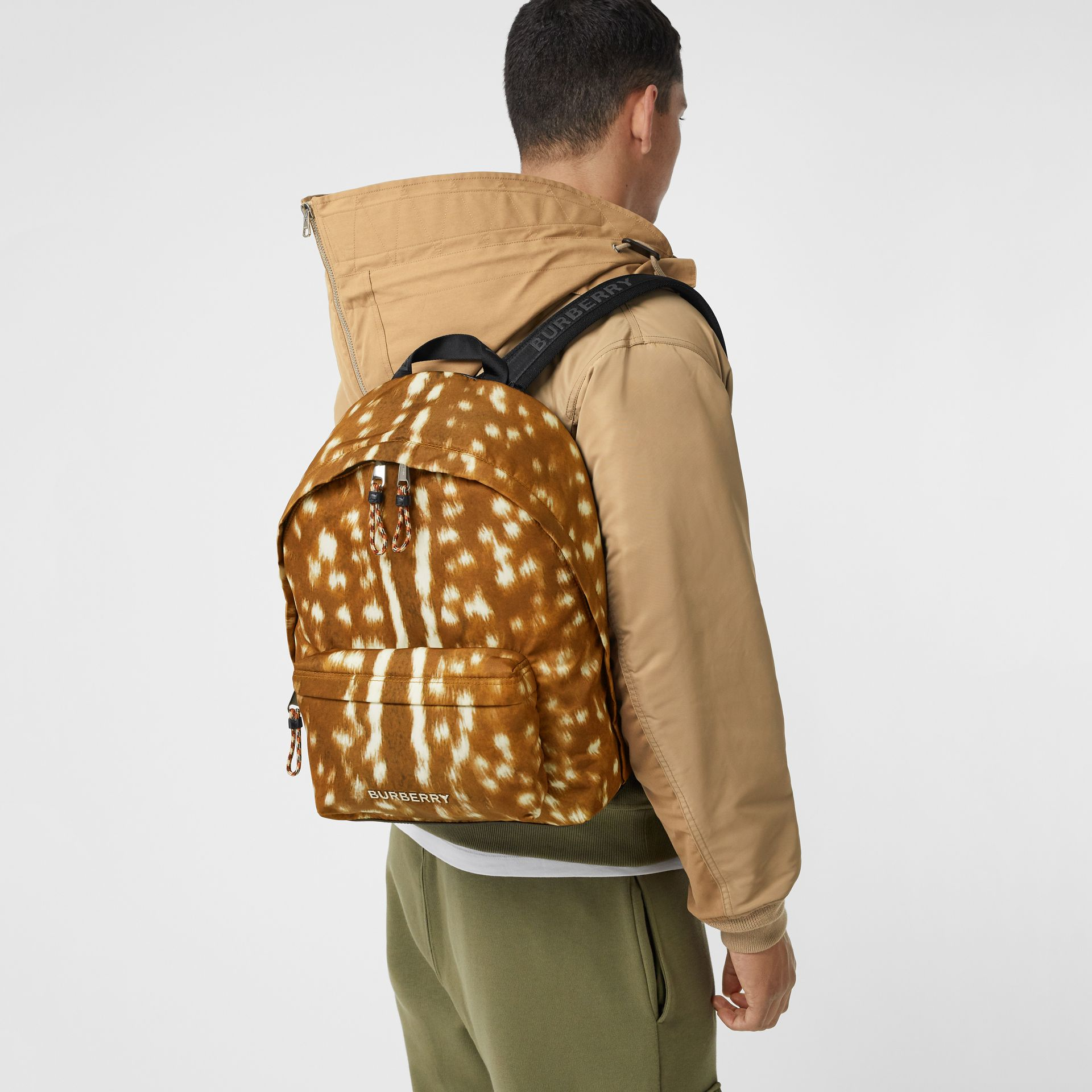 Deer Print Nylon Backpack in Tan/white | Burberry - gallery image 2