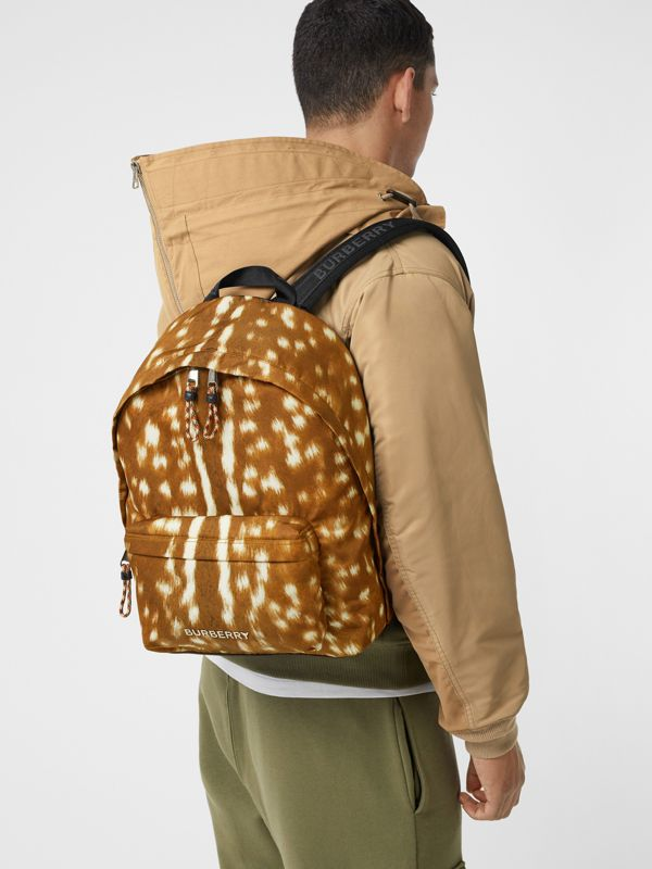 Deer Print Nylon Backpack in Tan/white | Burberry - cell image 2