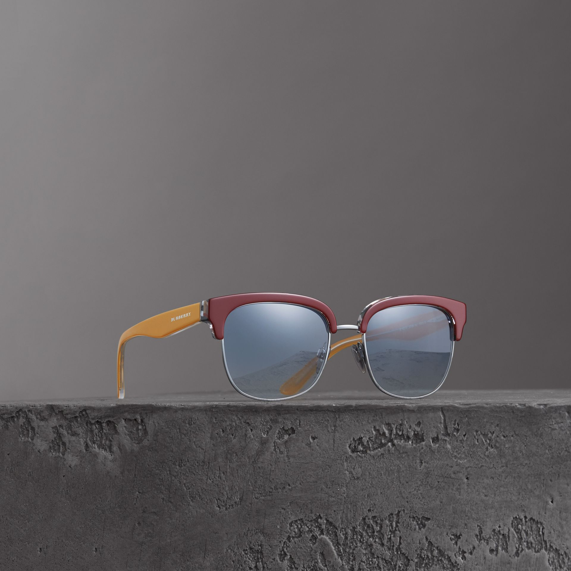 Check Detail D-frame Sunglasses in Burgundy - Men | Burberry Singapore - gallery image 0