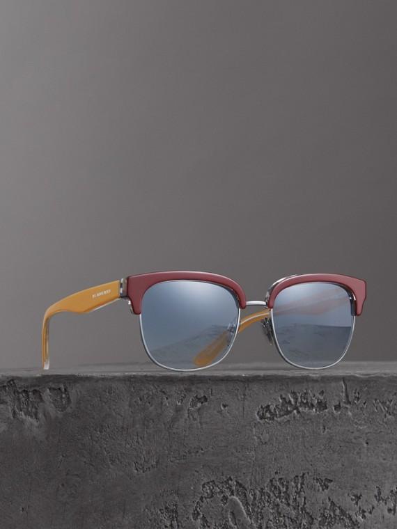 Sonnenbrille mit Karodetail (Burgunderrot)