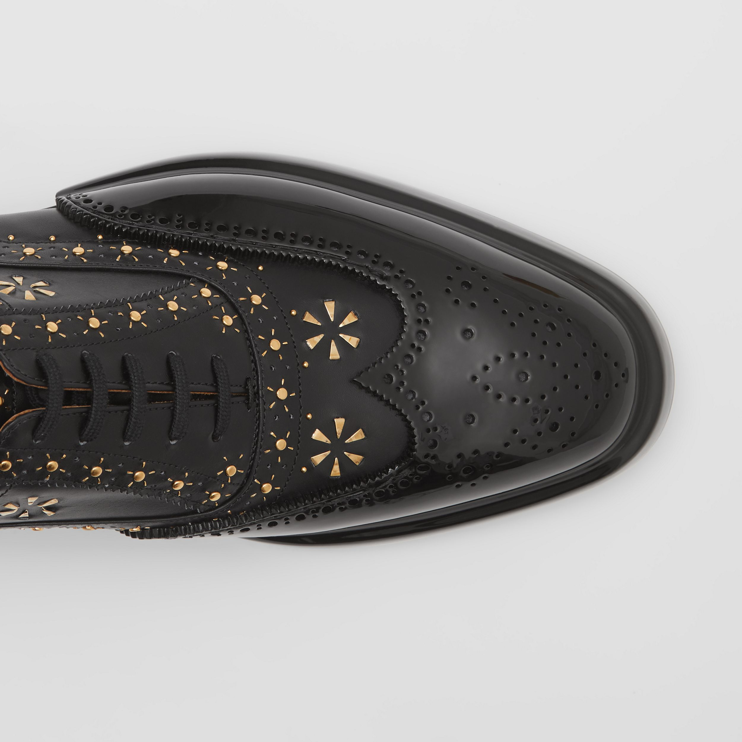Toe Cap Detail Studded Leather Oxford Brogues in Black | Burberry Canada - 2