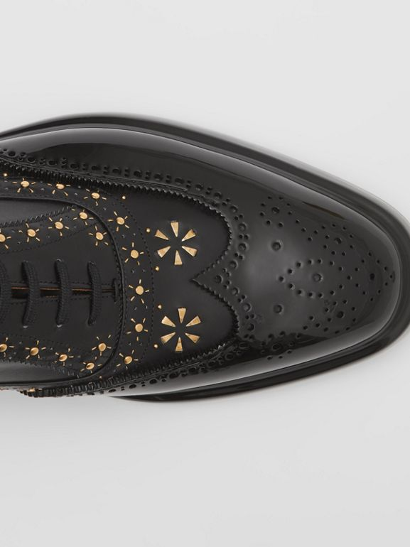 Toe Cap Detail Studded Leather Oxford Brogues in Black | Burberry Hong Kong S.A.R - cell image 1