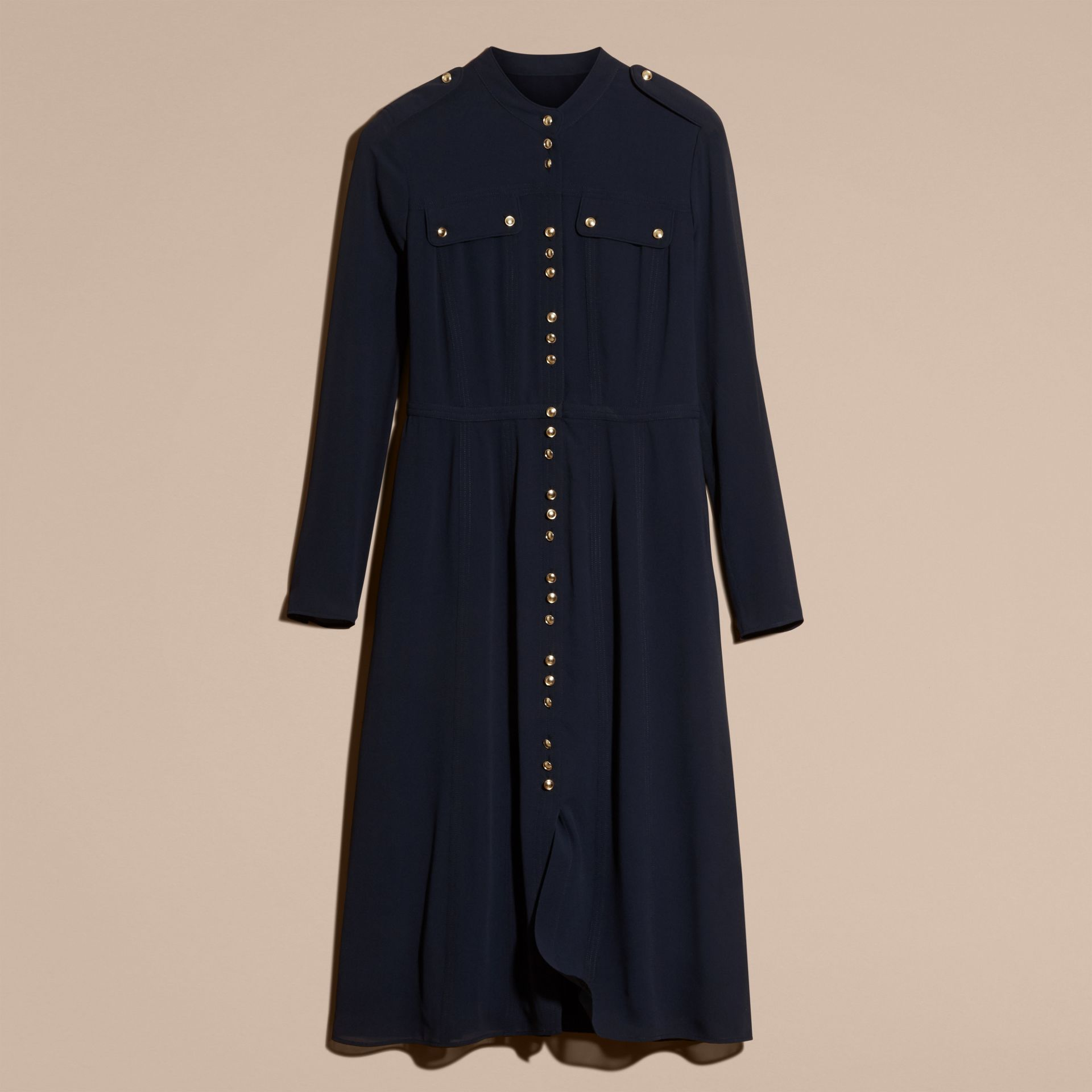 Navy Silk Dress with Polished Buttons - gallery image 4