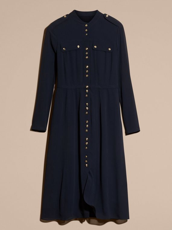 Navy Silk Dress with Polished Buttons - cell image 3