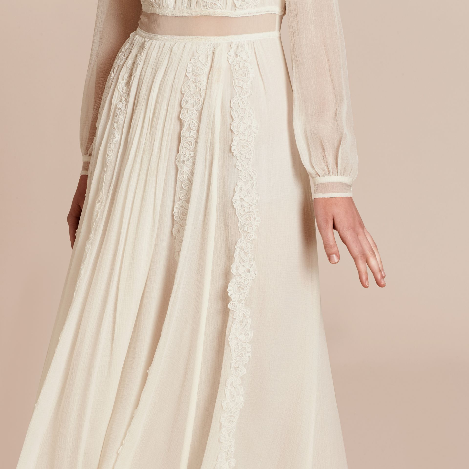 Lace Detail Silk Crepon Floor-length Dress in White - Women | Burberry - gallery image 6