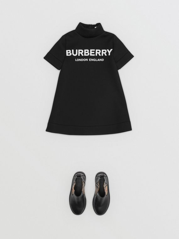 Logo Print Funnel Neck Dress in Black