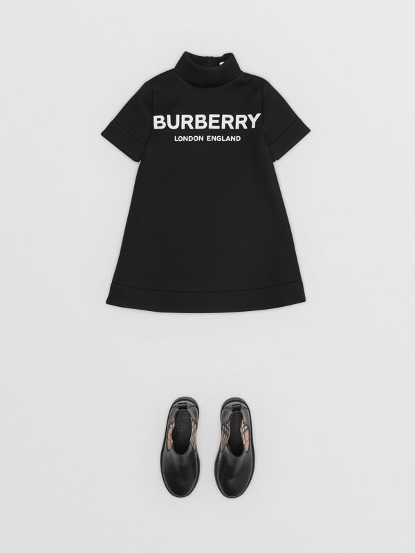 Logo Print Funnel Neck Dress in Black | Burberry - cell image 2