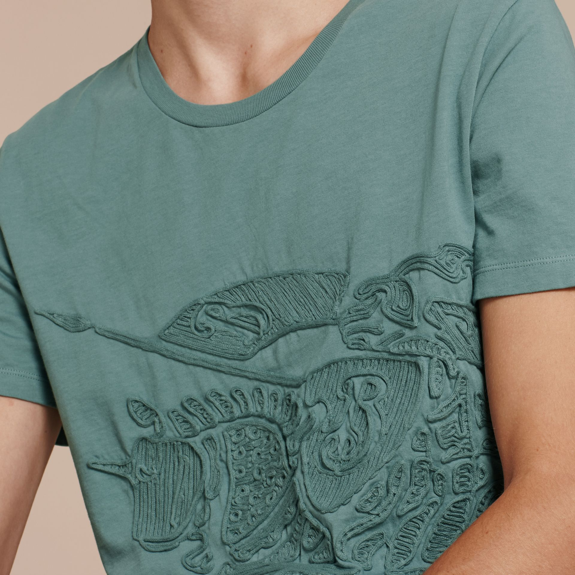 Embroidered Equestrian Knight Cotton T-shirt - gallery image 5