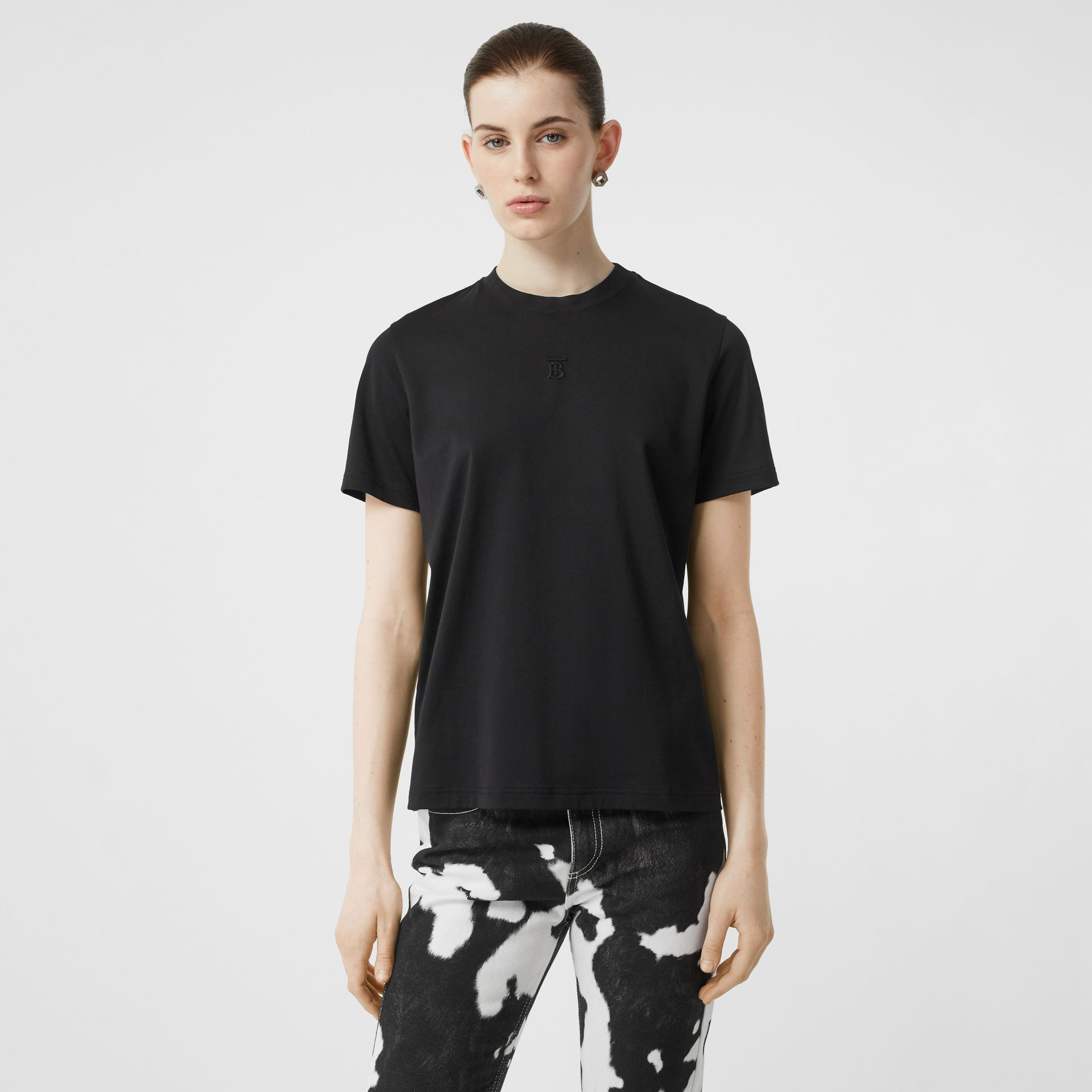 Monogram Motif Cotton T-shirt in Black - Women | Burberry - gallery image 0