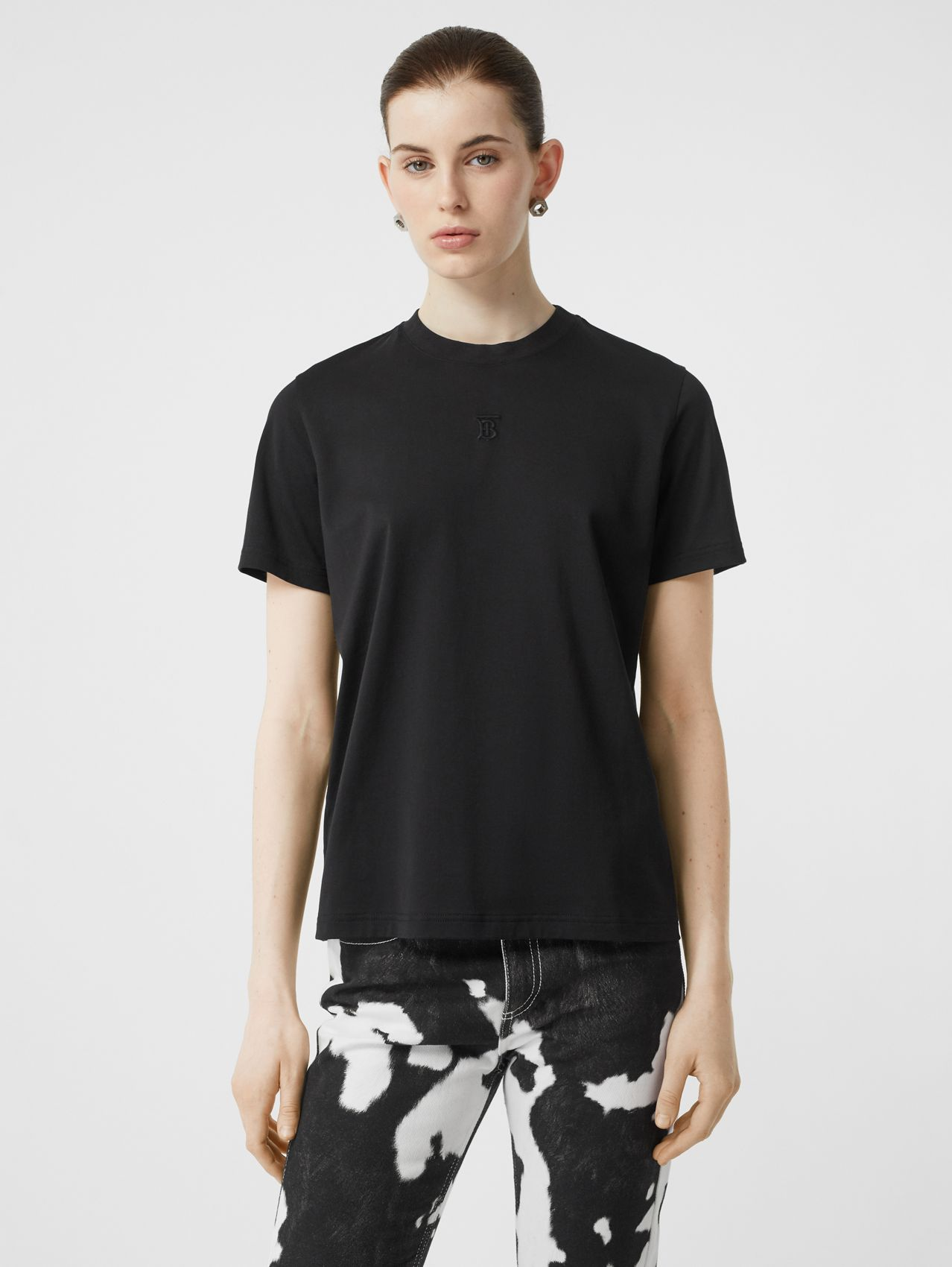 Monogram Motif Cotton T-shirt in Black