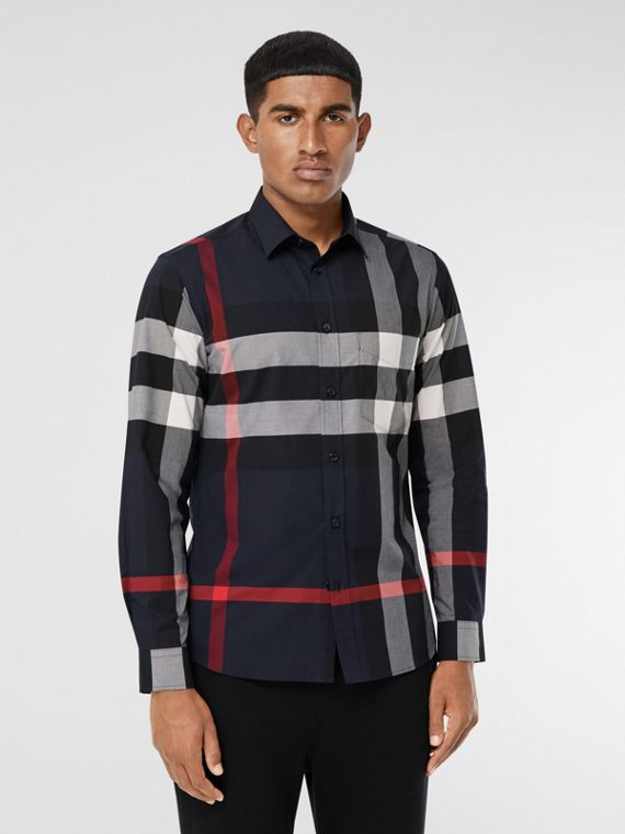 Check Stretch Cotton Poplin Shirt in Navy