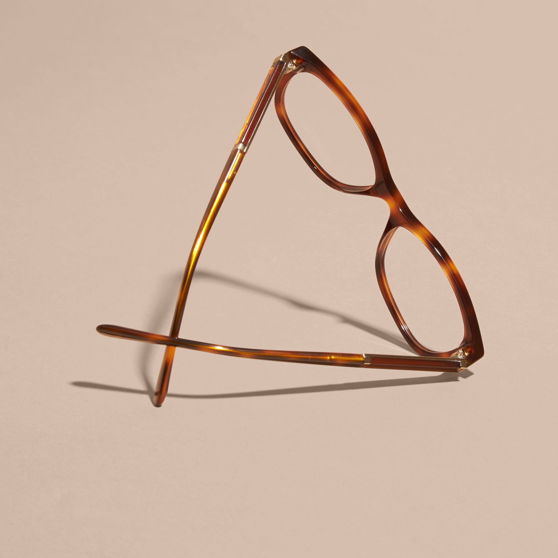 Light russet brown Check Detail Oval Optical Frames Light Russet Brown - gallery image 5