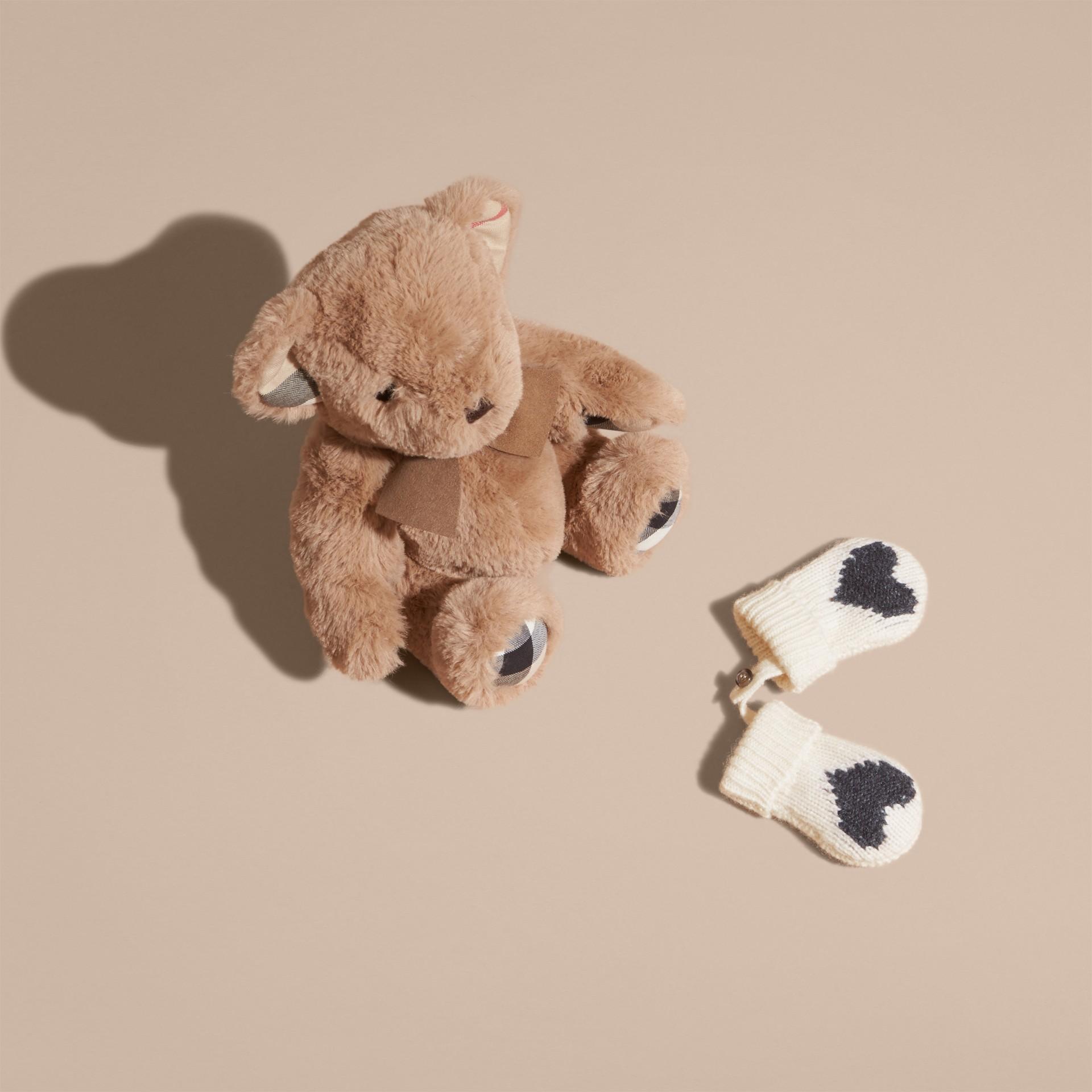 Anthracite Moufles en cachemire avec motif à cœur en intarsia Anthracite - photo de la galerie 4