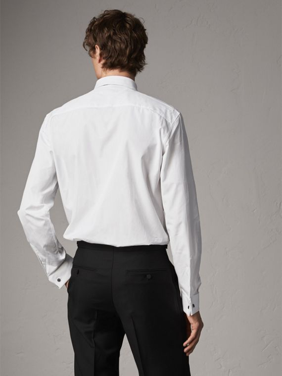 Modern Fit Double-cuff Cotton Poplin Shirt in White - Men | Burberry - cell image 2