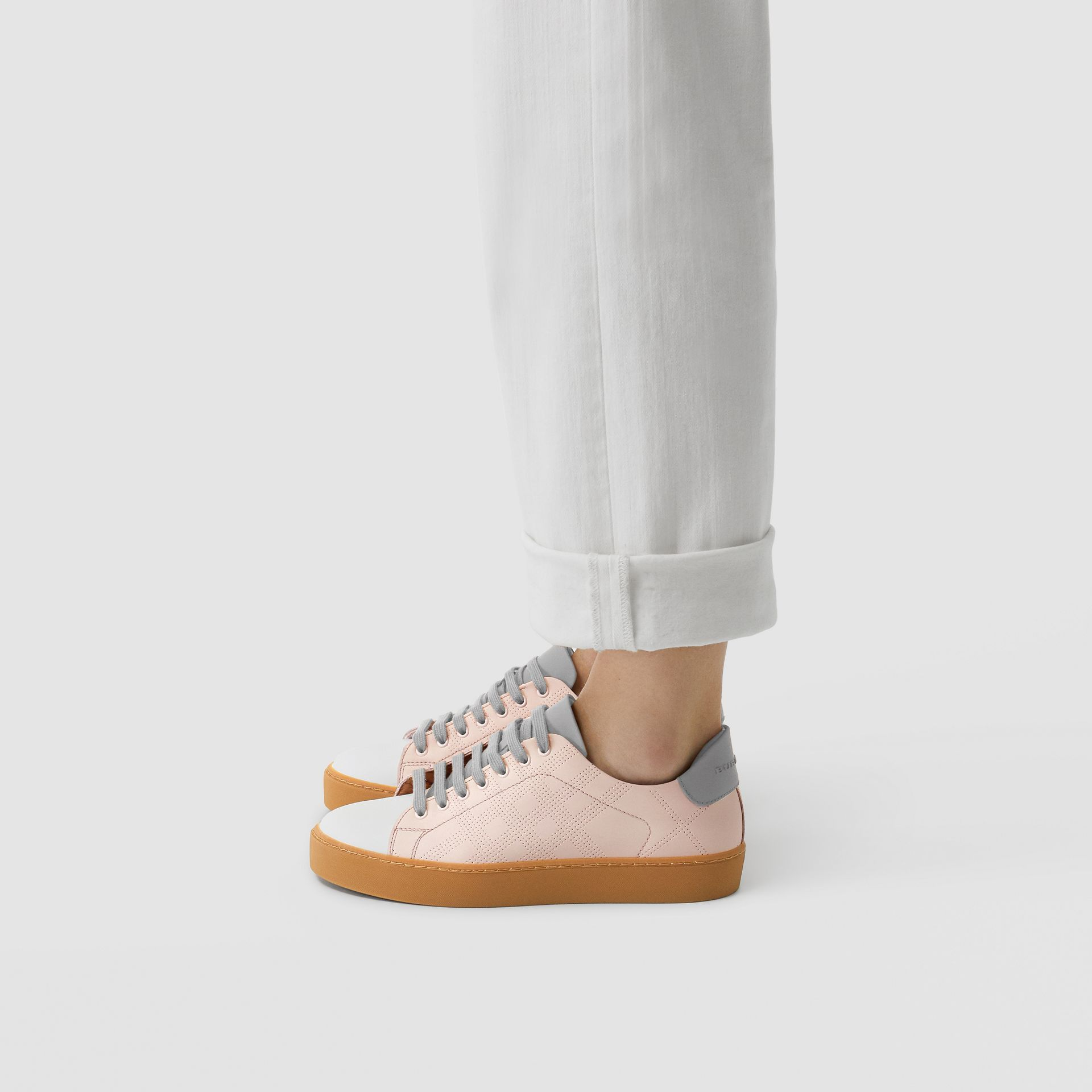 Tri-tone Perforated Check Leather Sneakers in Pale Pink - Women | Burberry - gallery image 2