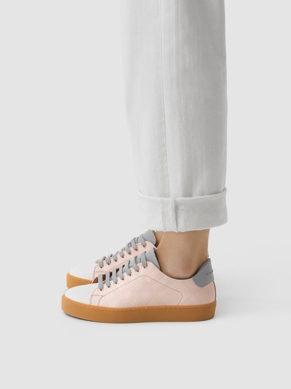Tri-tone Perforated Check Leather Sneakers in Pale Pink - Women | Burberry - cell image 2
