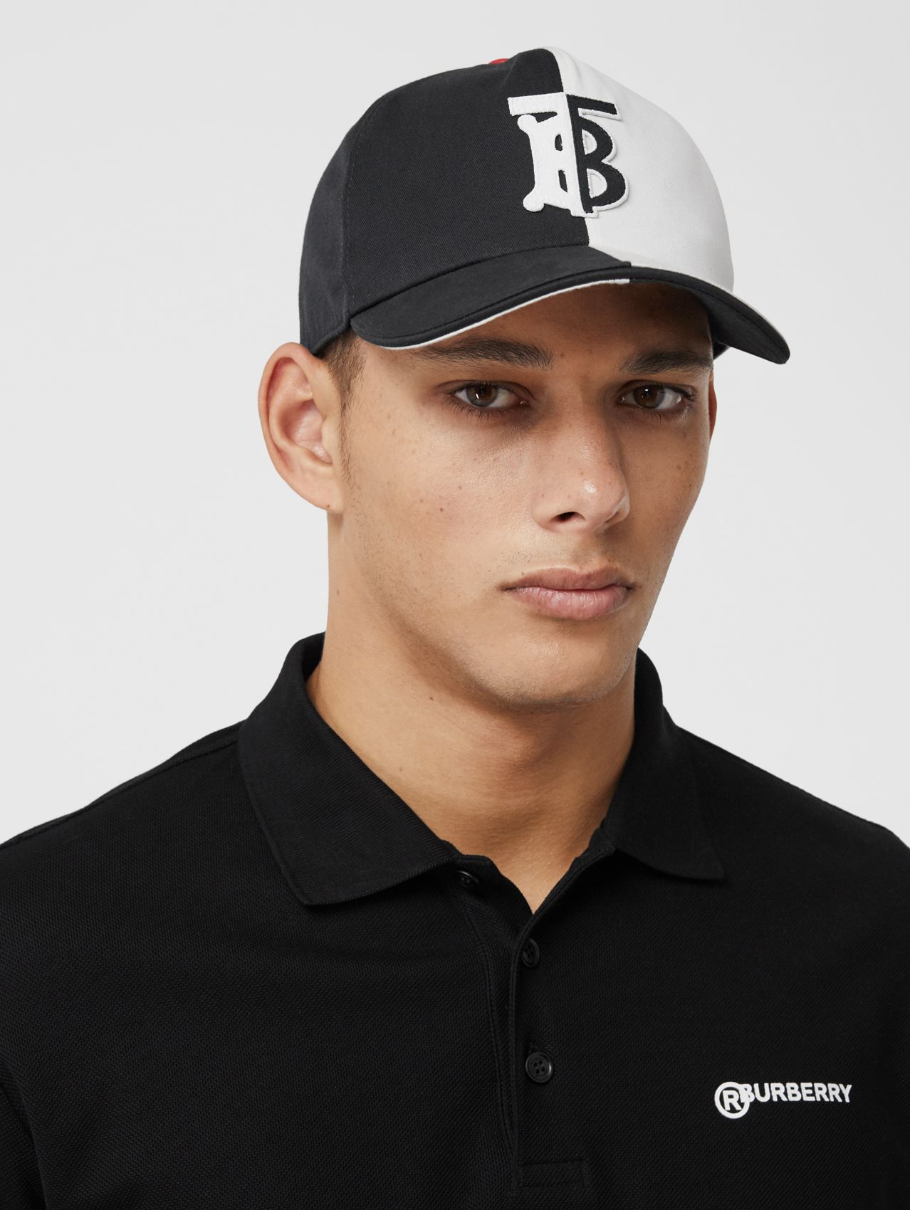 Monogram Motif Two-tone Cotton Baseball Cap (Black/white)
