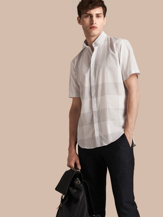 Short-sleeved Check Cotton Shirt White