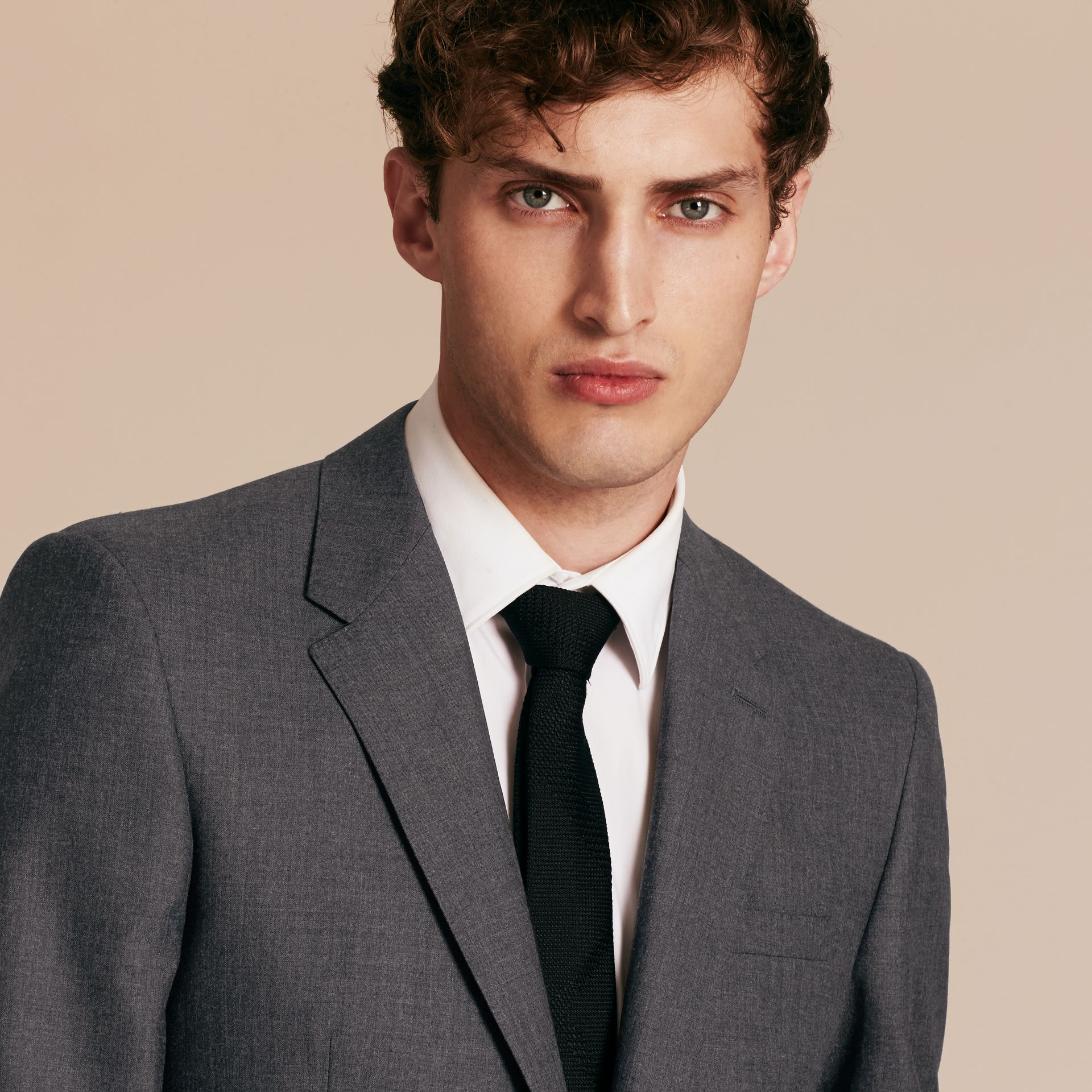 Modern Fit Wool Part-canvas Suit Charcoal - gallery image 5
