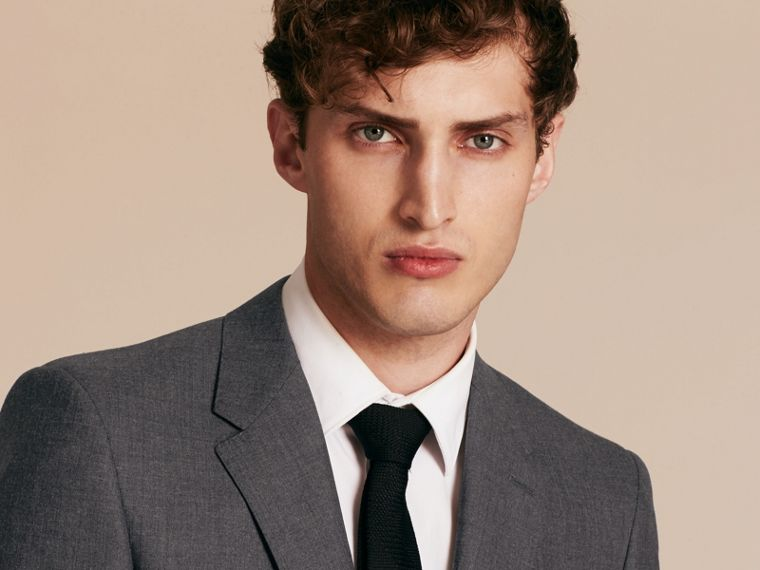 Modern Fit Wool Part-canvas Suit in Charcoal - cell image 4