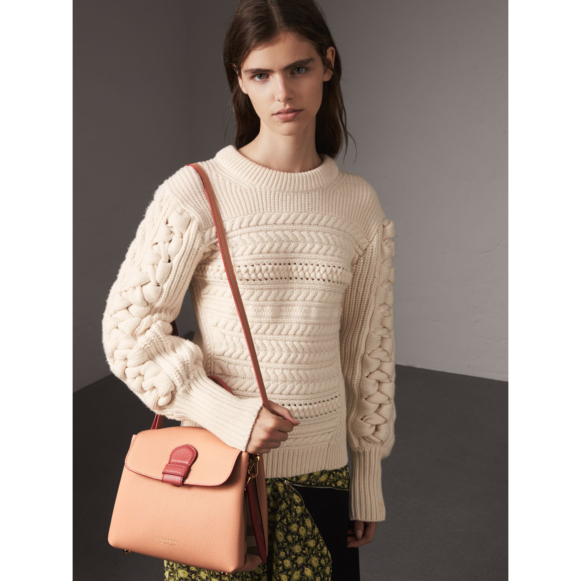 Small Two-tone Leather and House Check Tote in Pale Apricot - Women | Burberry Australia - gallery image 2