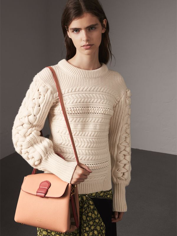 Small Two-tone Leather and House Check Tote in Pale Apricot - Women | Burberry United States - cell image 2