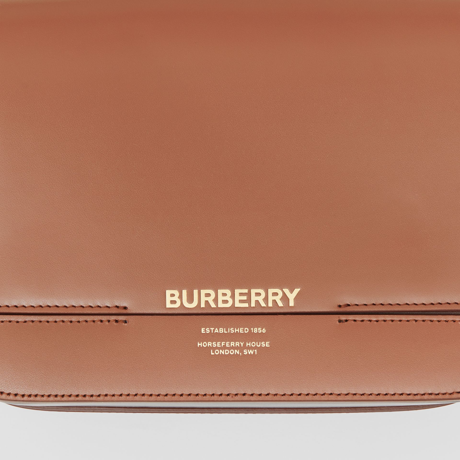Small Two-tone Leather Grace Bag in Malt Brown/black - Women | Burberry - gallery image 1