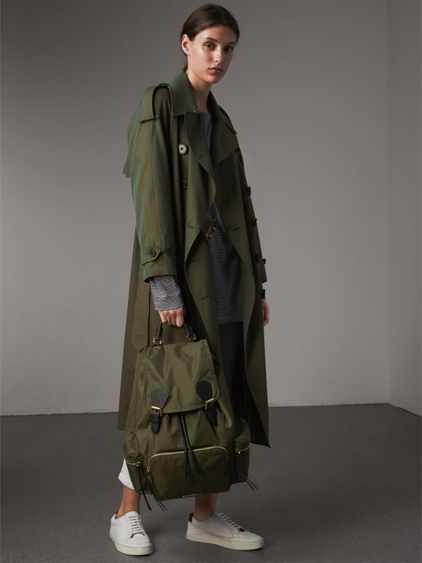 The Large Rucksack in Technical Nylon and Leather in Canvas Green - Women | Burberry Singapore - cell image 2