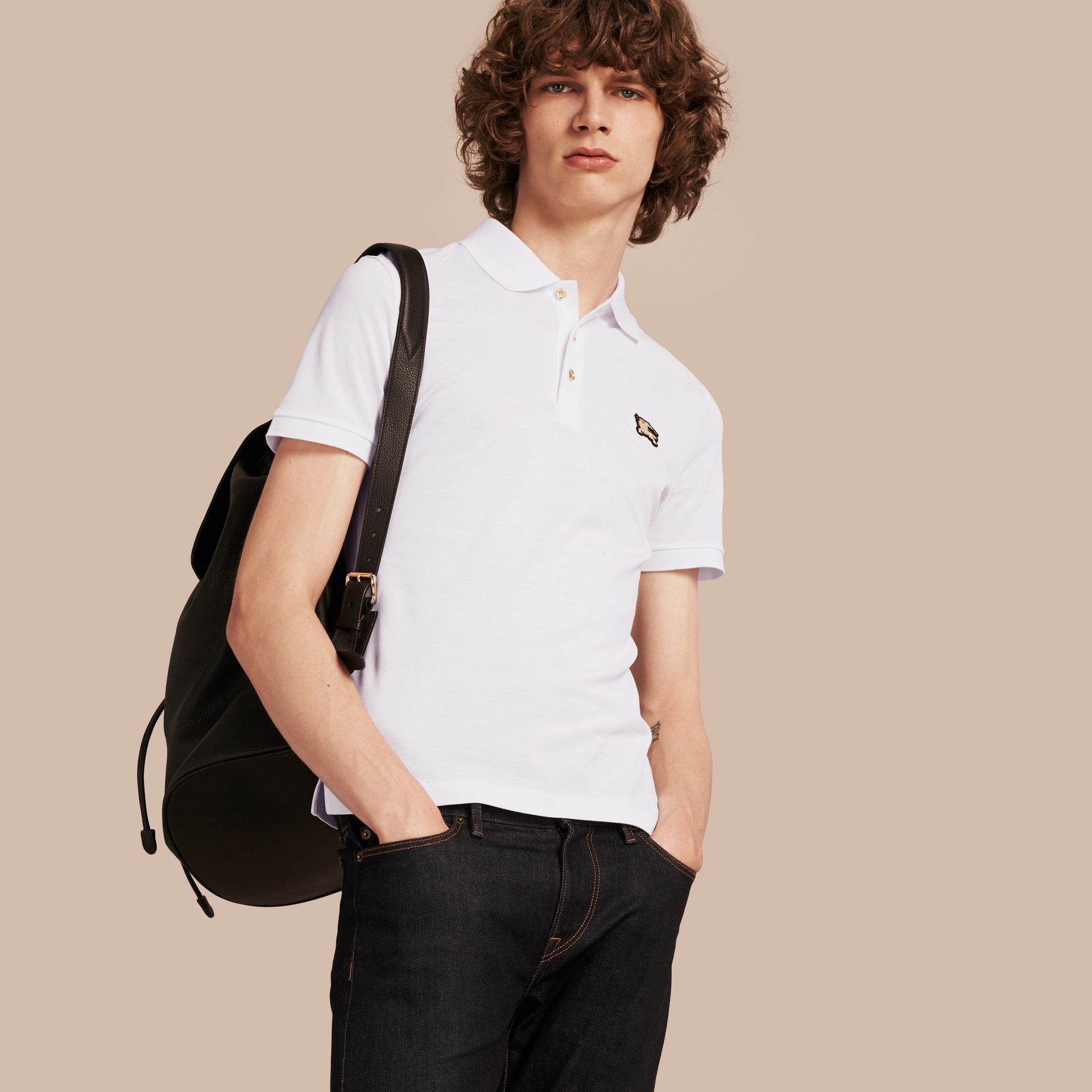 White Fitted Mercerised Cotton-Piqué Polo Shirt White - gallery image 1