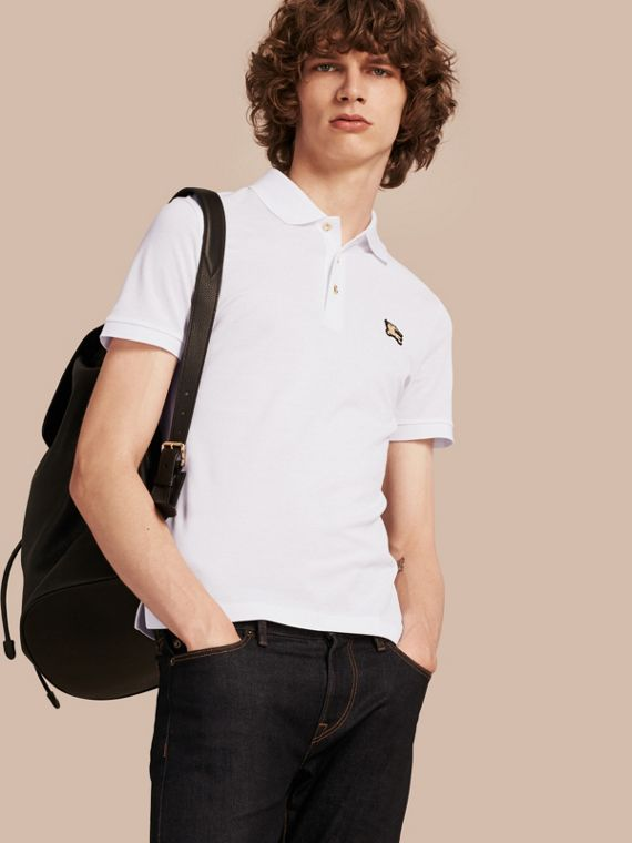 Fitted Mercerised Cotton-Piqué Polo Shirt White