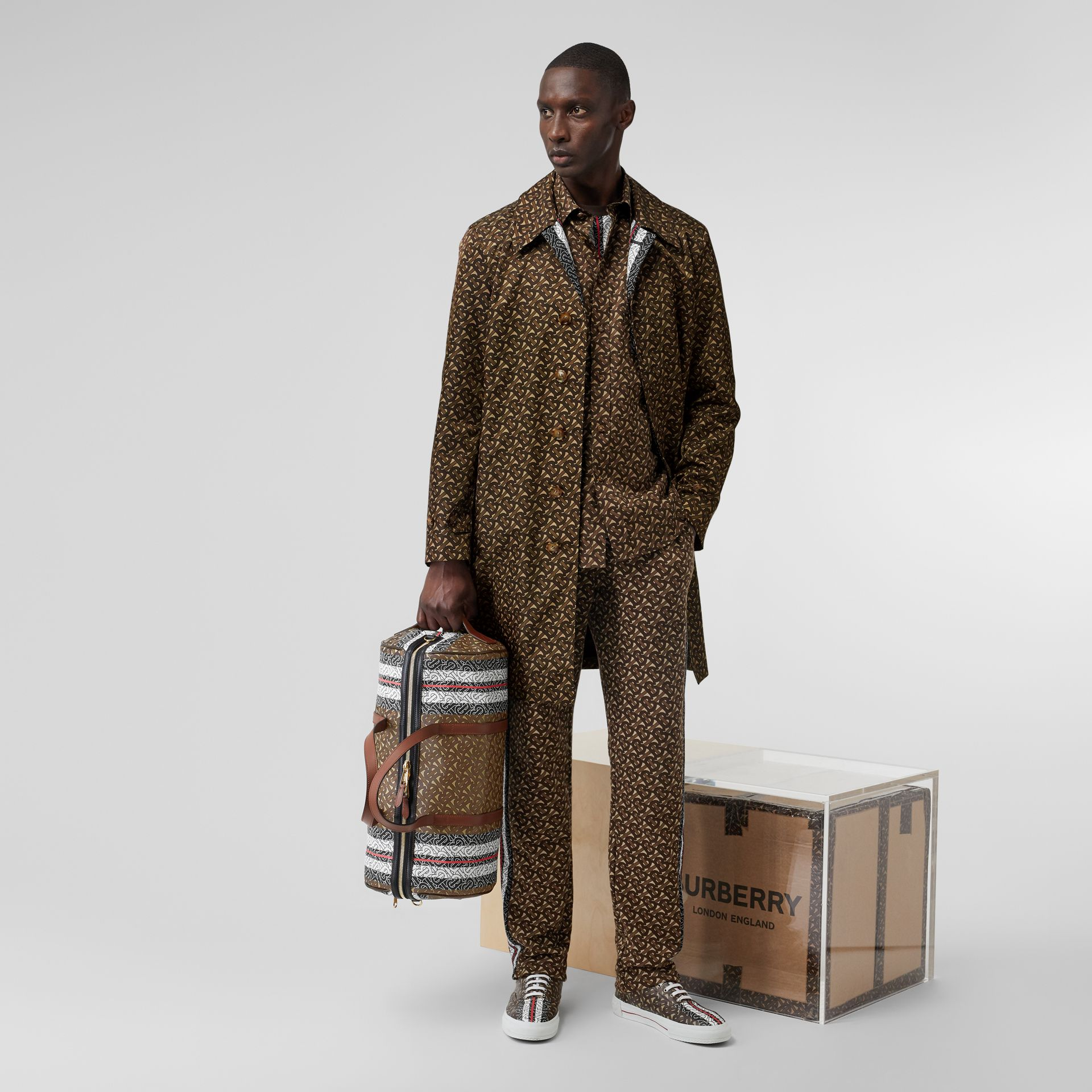 Monogram Stripe Print Nylon Car Coat in Bridle Brown - Men | Burberry United Kingdom - gallery image 7