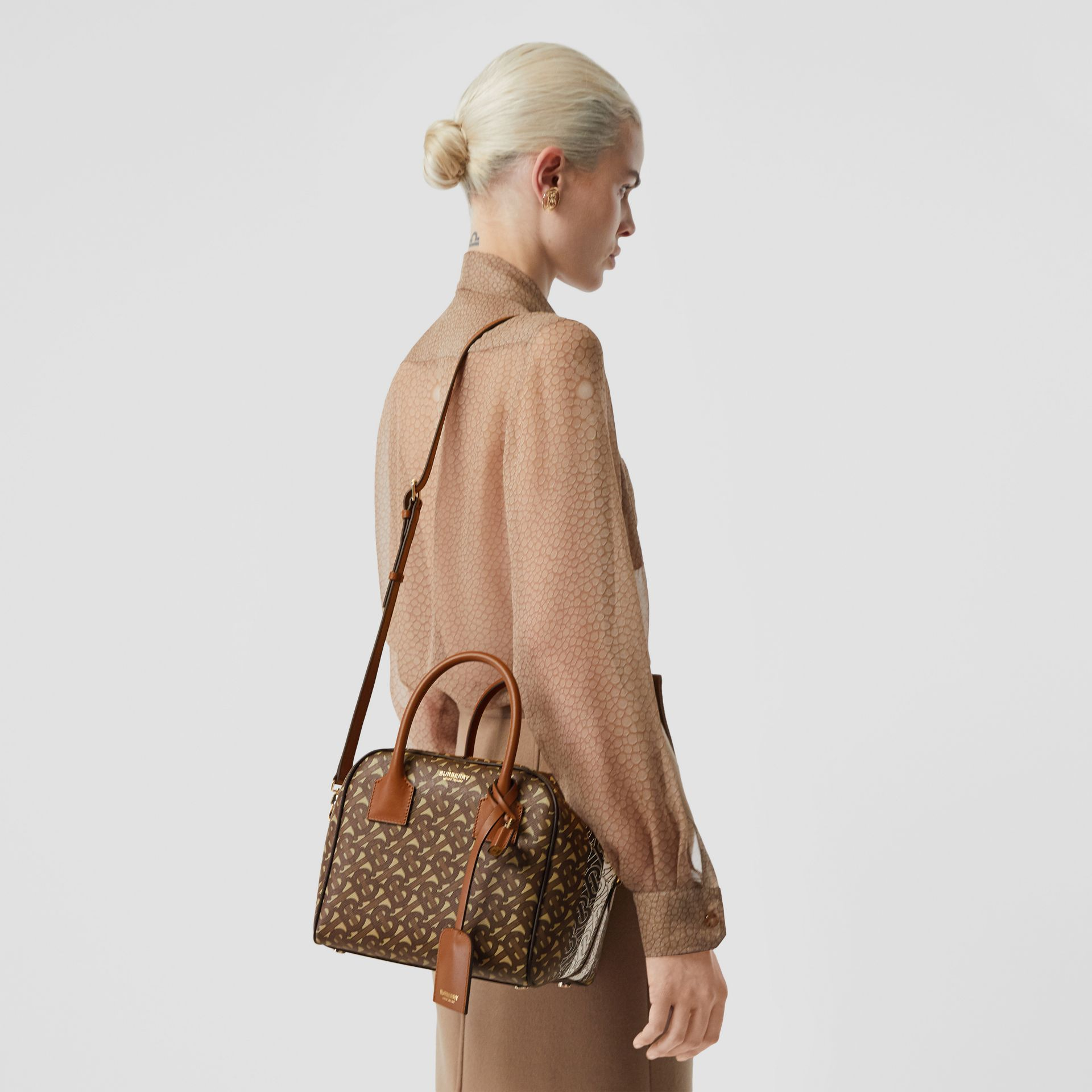 Small Monogram Stripe E-canvas Cube Bag in Bridle Brown - Women | Burberry Singapore - gallery image 2