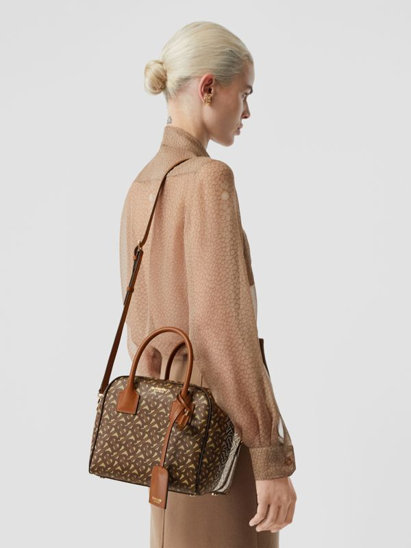 Small Monogram Stripe E-canvas Cube Bag in Bridle Brown - Women | Burberry - cell image 2