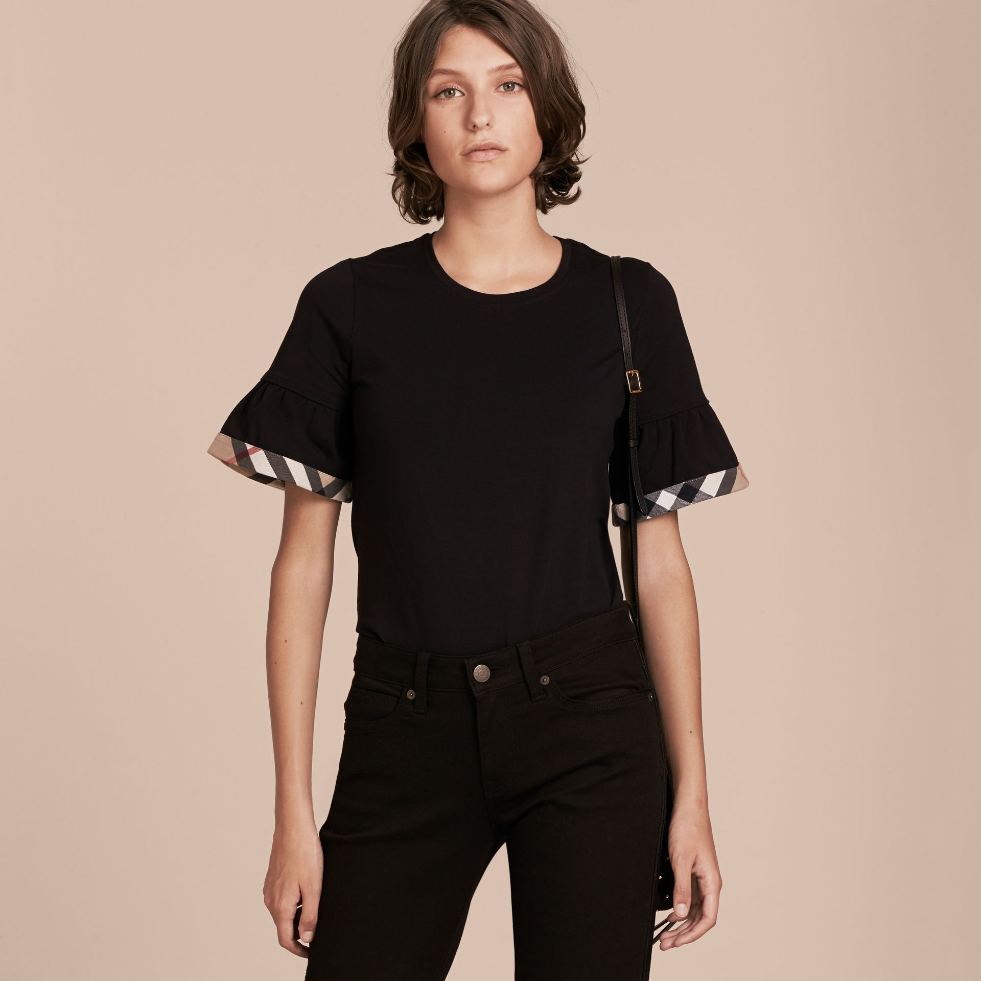 Stretch Cotton T-shirt with Check Trim Ruffles Black - gallery image 6