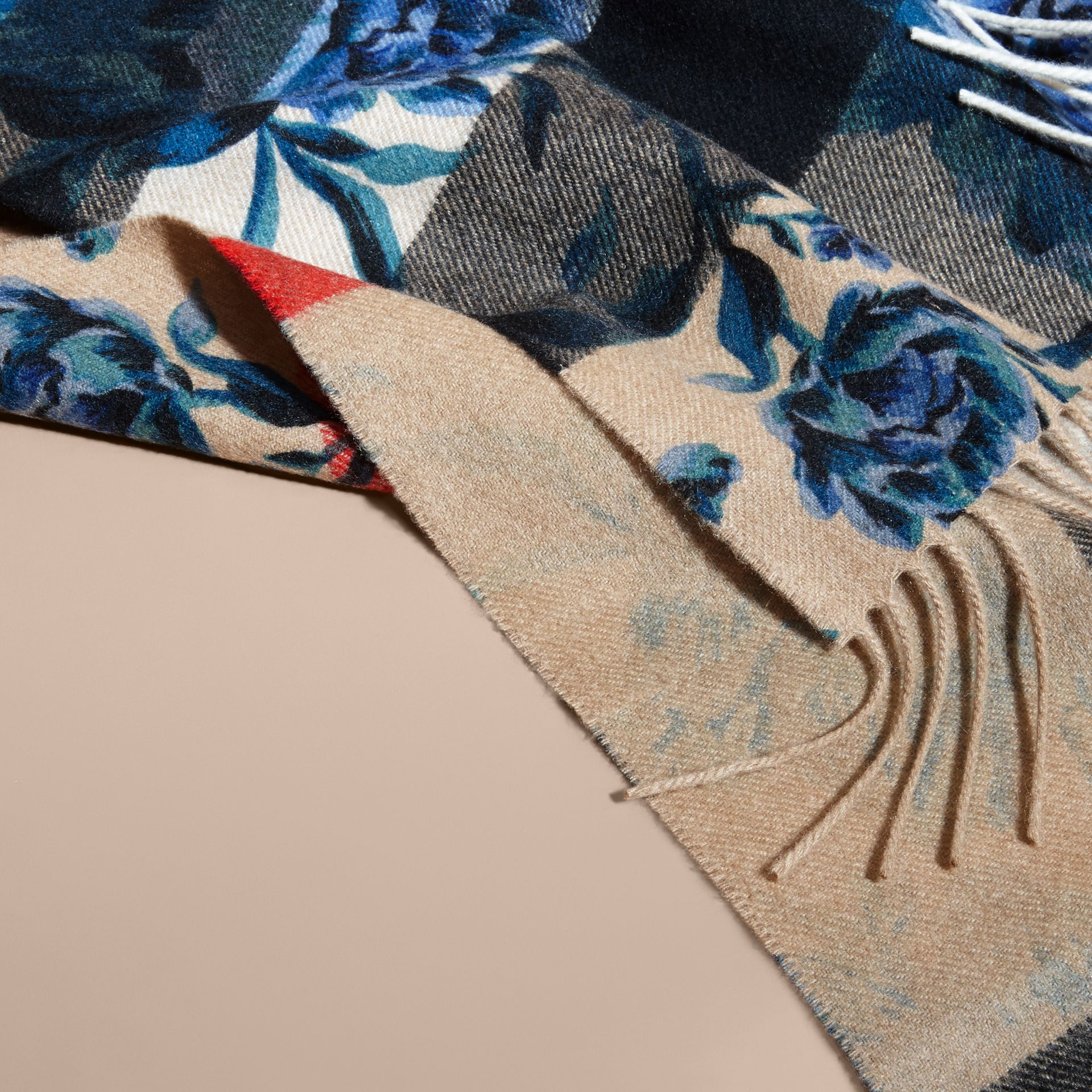 Reversible Floral Print and Check Cashmere Scarf - gallery image 5