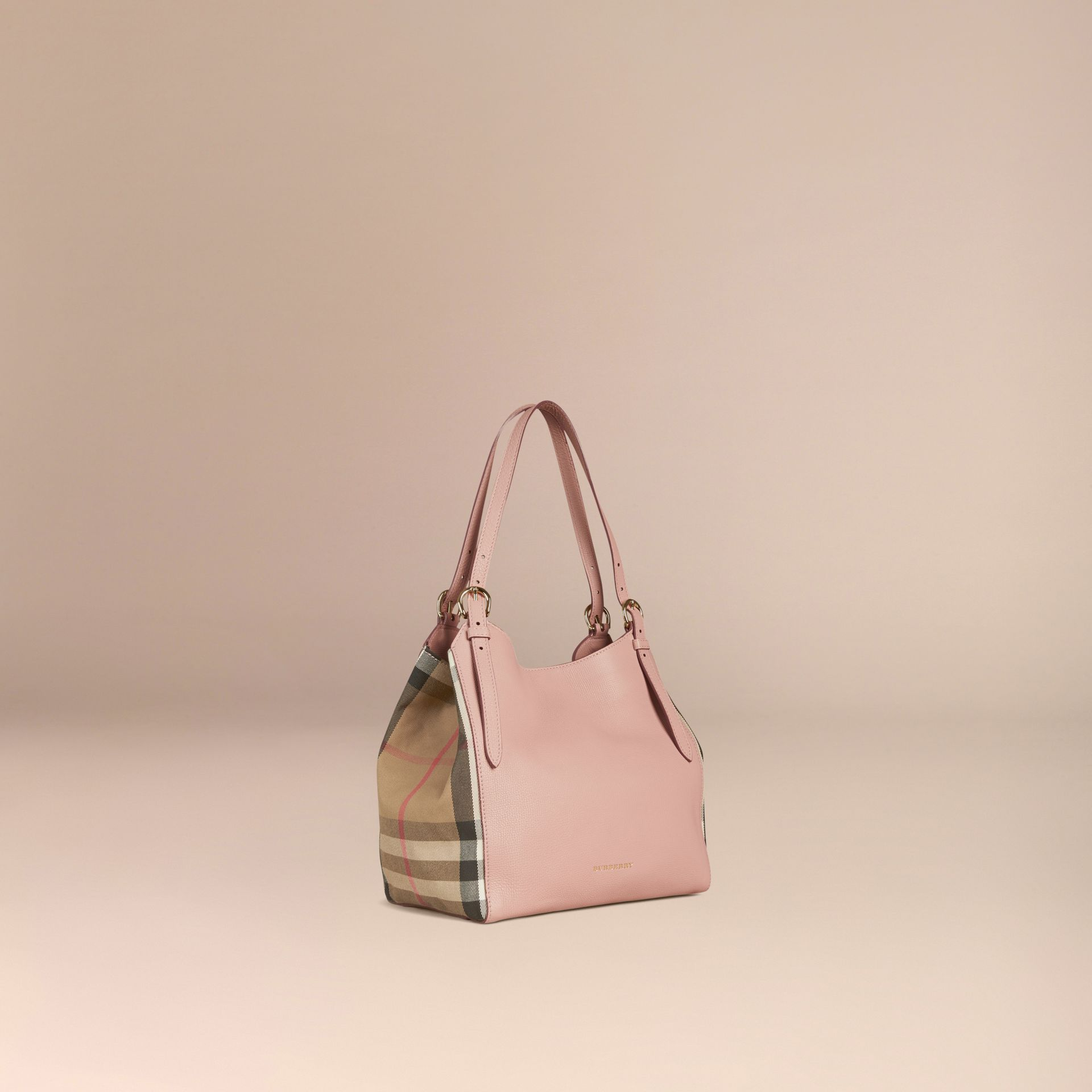 The Small Canter in Leather and House Check in Pale Orchid - Women | Burberry - gallery image 1