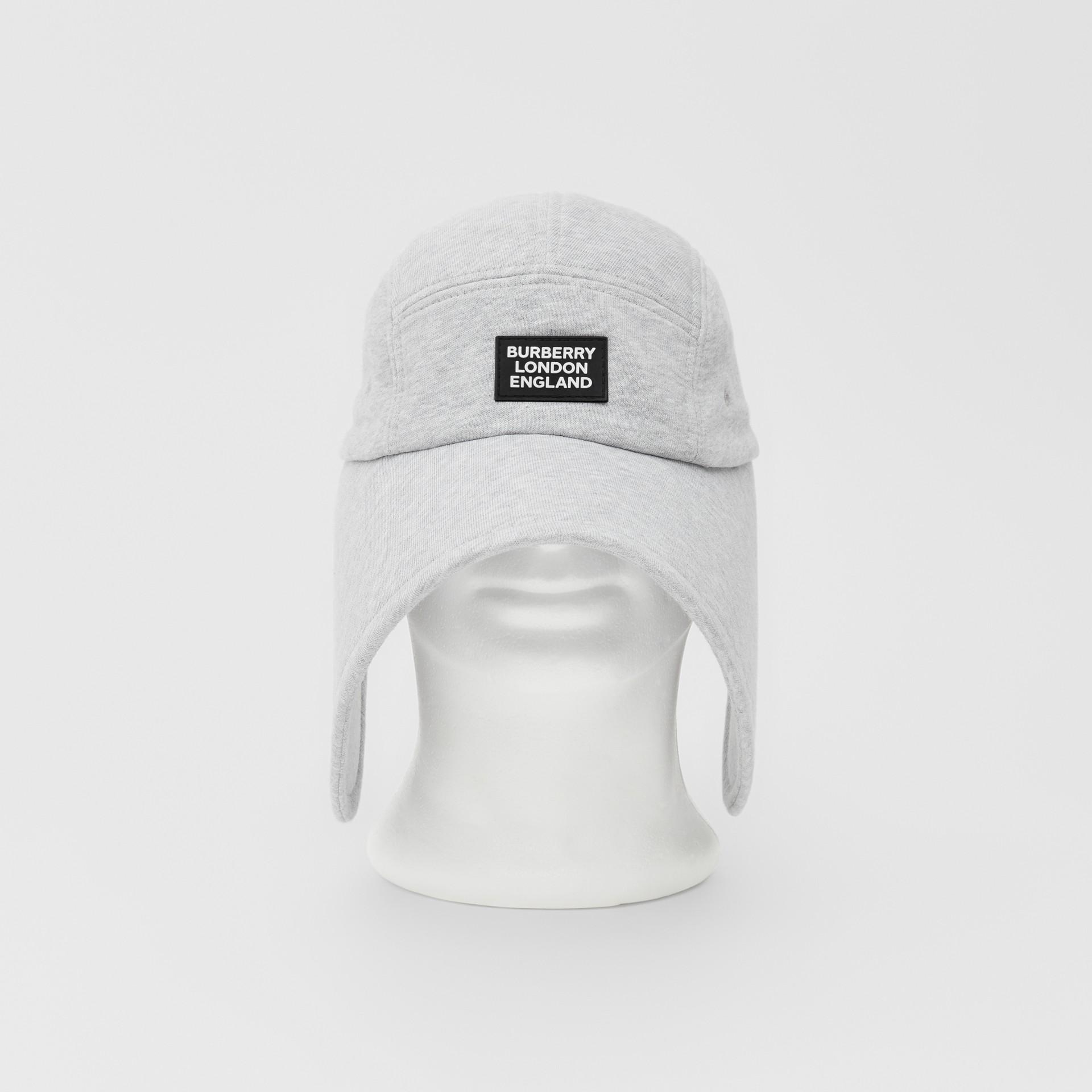 Logo Appliqué Cotton Jersey Bonnet Cap in Light Pebble Grey | Burberry - gallery image 0