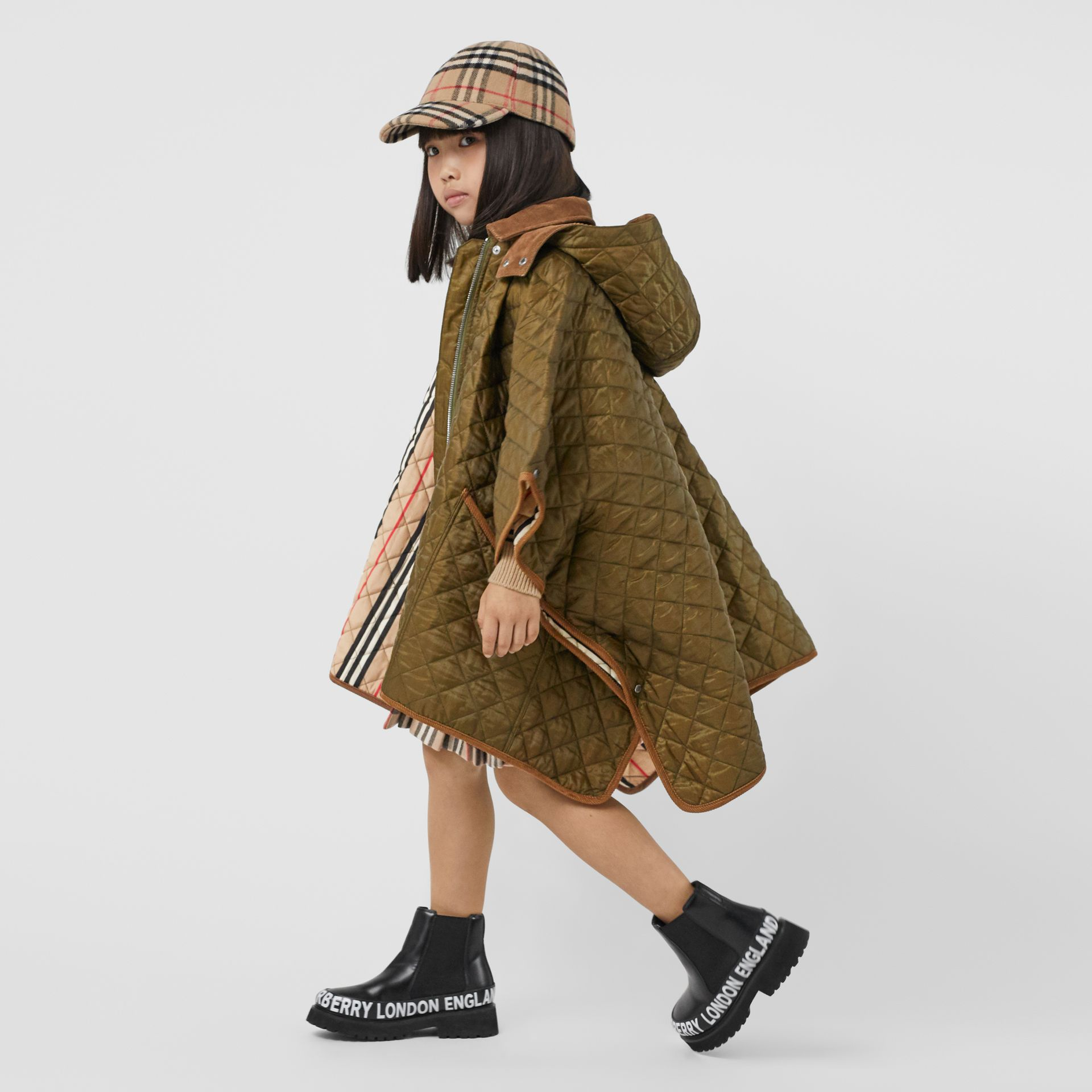 Corduroy Trim Diamond Quilted Hooded Poncho in Military Olive | Burberry - gallery image 2