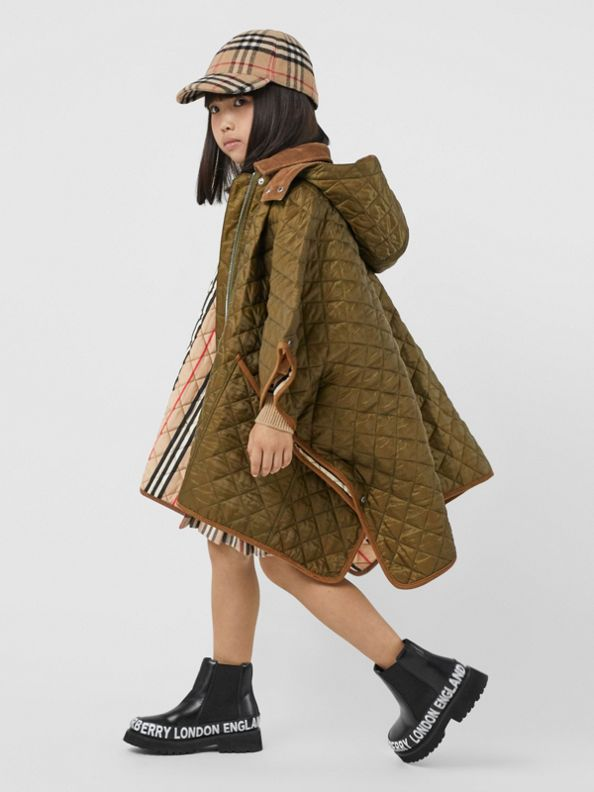 Corduroy Trim Diamond Quilted Hooded Poncho in Military Olive