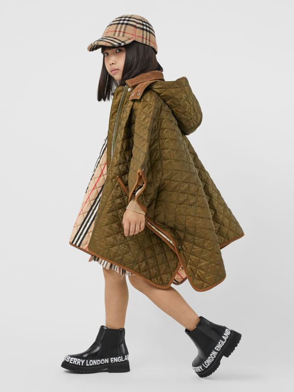 Corduroy Trim Diamond Quilted Hooded Poncho in Military Olive | Burberry - cell image 2