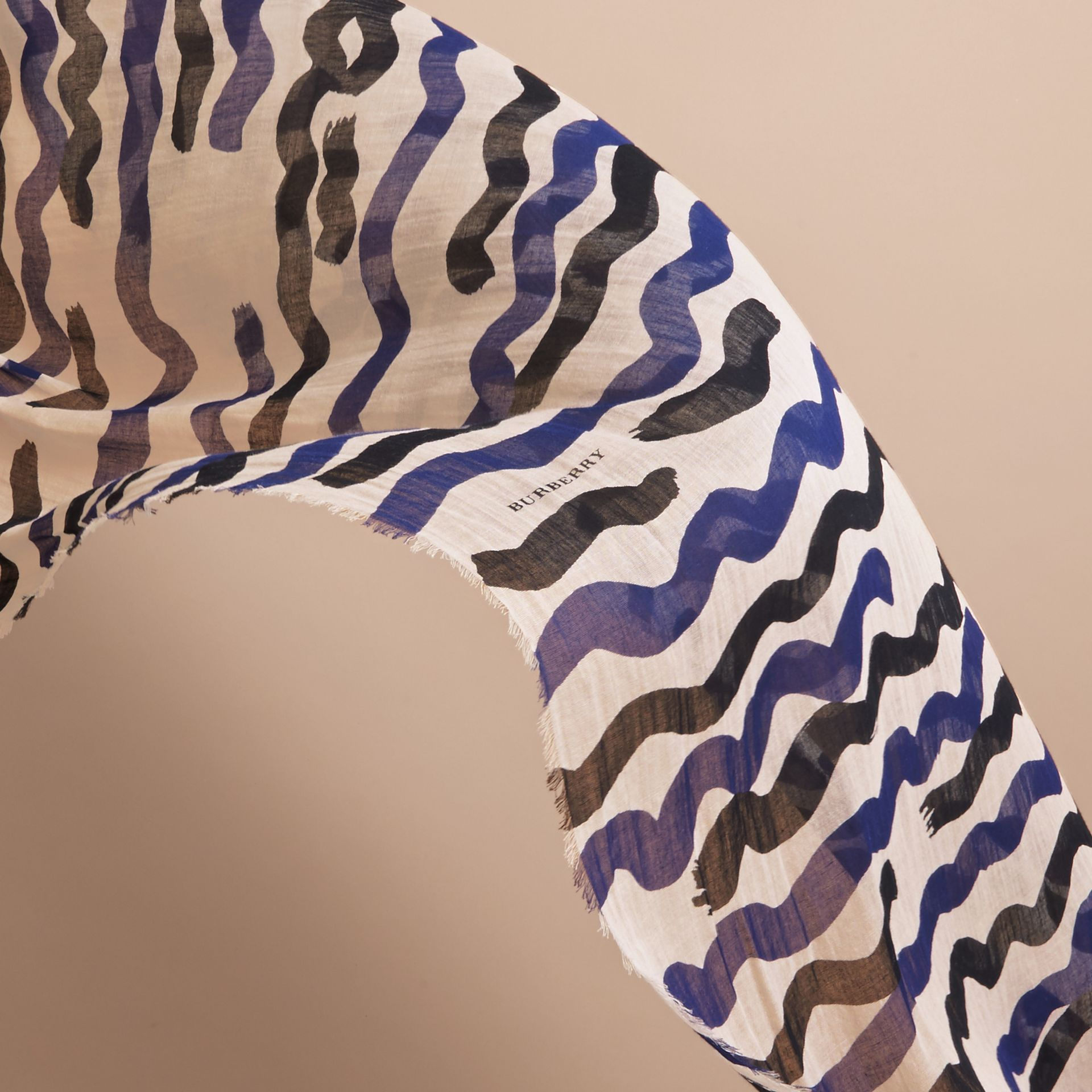 Waves Print Cotton Cashmere Scarf Bright Navy - gallery image 4