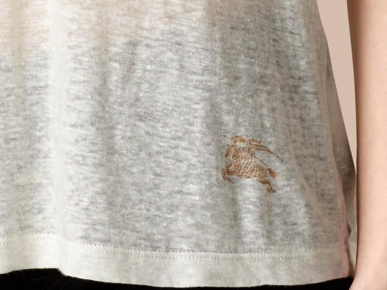 Blanc T-shirt en lin à col V et mailles ouvertes Blanc - cell image 1
