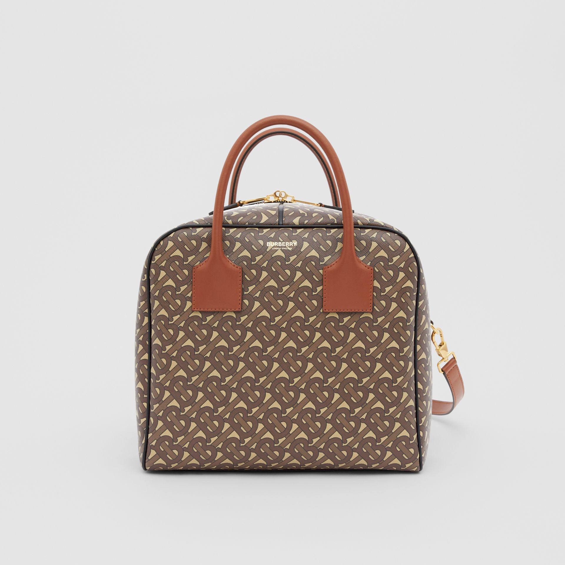 Borsa Cube media in e-canvas con stampa monogramma a righe (Marrone Redini) - Donna | Burberry - immagine della galleria 0