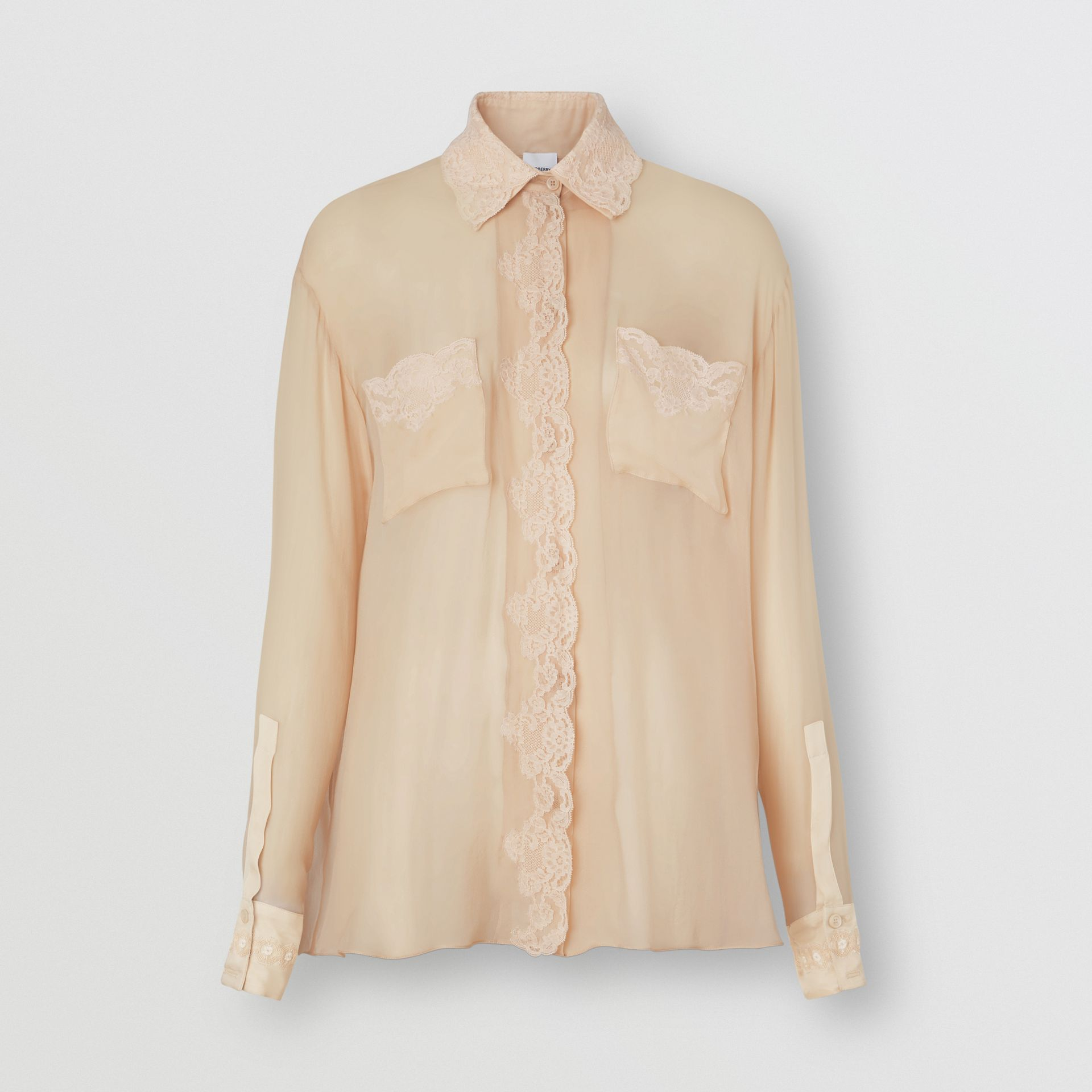 Lace Detail Silk Chiffon Oversized Shirt in Soft Peach - Women | Burberry - gallery image 3