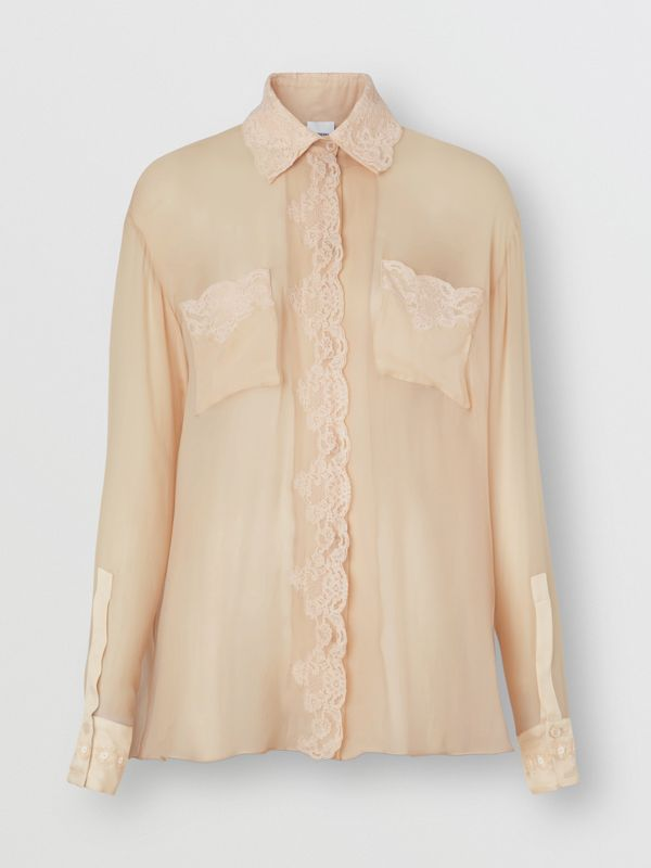 Lace Detail Silk Chiffon Oversized Shirt in Soft Peach - Women | Burberry - cell image 3